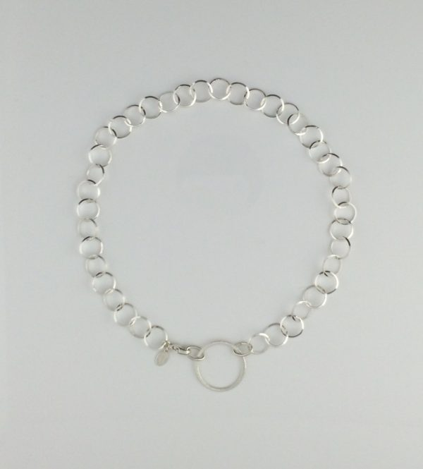 Sterling Silver Razor Edge Necklace with Large Circle Accent