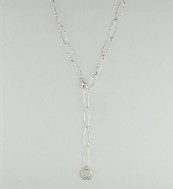 Sterling Silver Sparkle Oval Chain with Disk Dangle