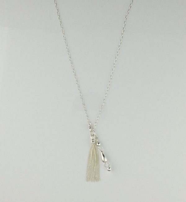 Sterling Silver Oval Link Chain with Tassel and Bright Silver Dangles
