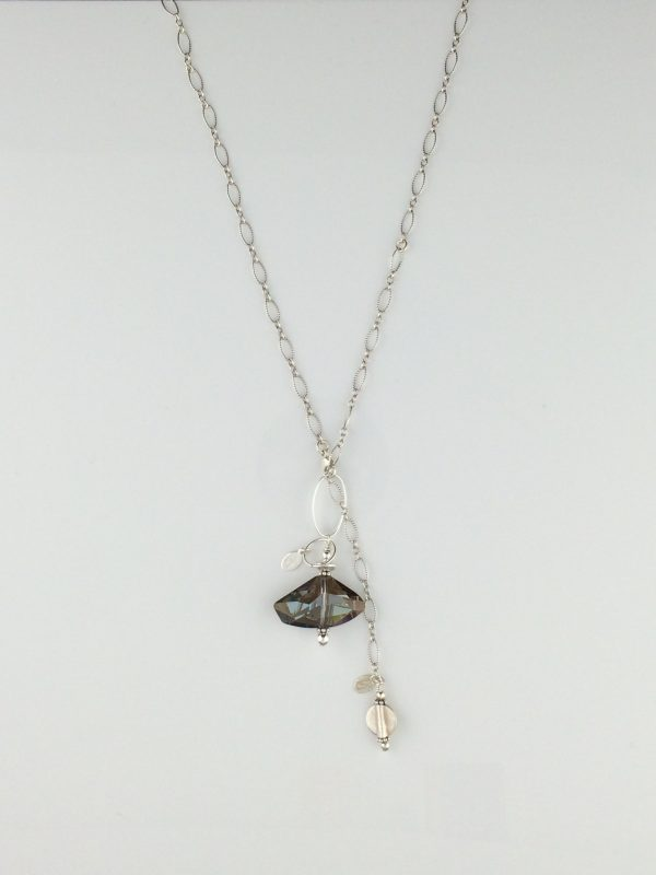 """Sterling Silver and Swarovski """"Bronze Shade"""" Galactic Crystal Pendant"""