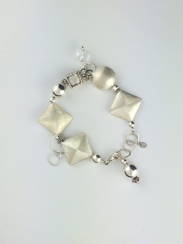 Sterling Silver Brushed Triangles and Circle Bracelet