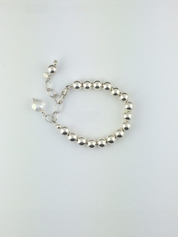 Sterling Silver Ball Bracelet with Chinese Crystal Dangle