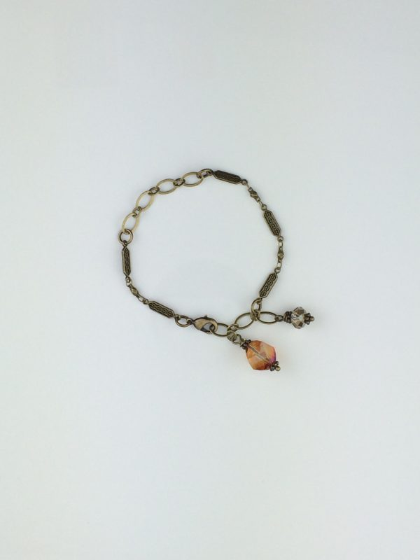 Antique Brass Link Bracelet with Swarovski Crystal