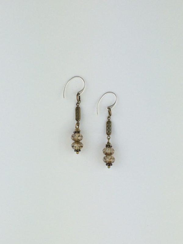 Bronze Swarovski Crystal and Brass Earrings