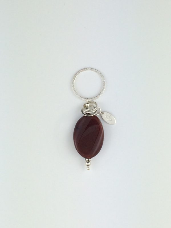 Polished Red Agate and Sterling Silver Pendant