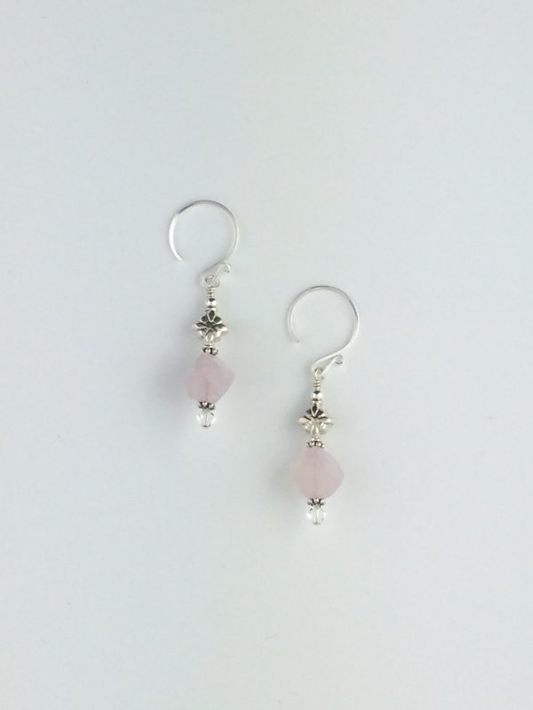 Rose Quartz Nuggets and Sterling Silver Bali Accent Earrings