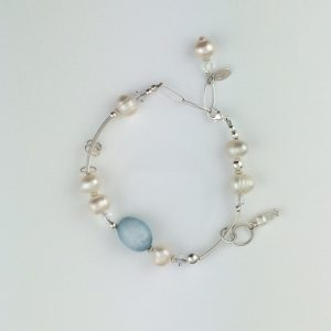 Sterling Silver Bar and Fresh Water Pearl Bracelet