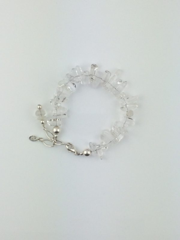 Quartz Crystal Icicle Bracelet with Silver Accents