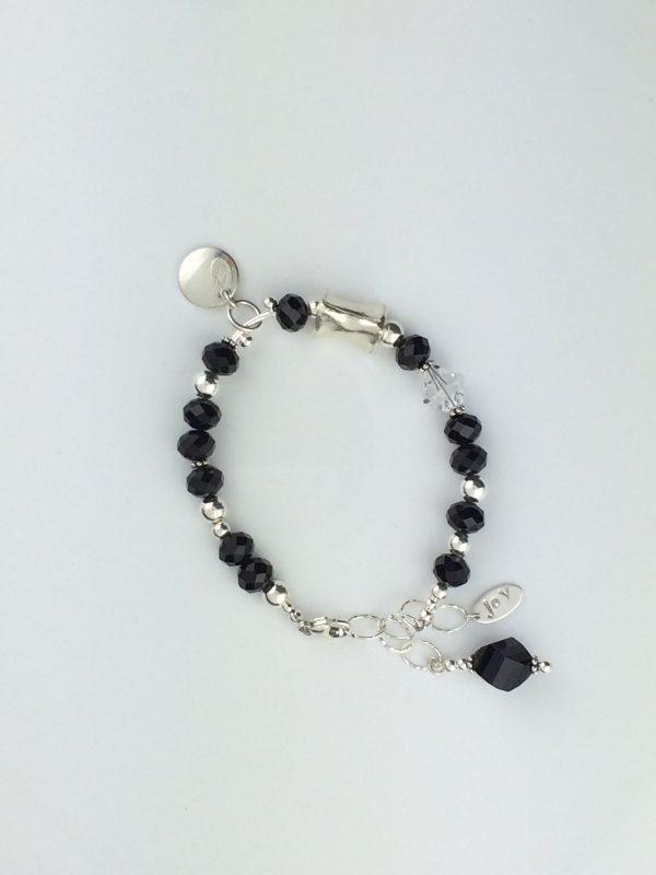 """Jet"" Swarovski Crystal and Sterling Silver Bracelet"