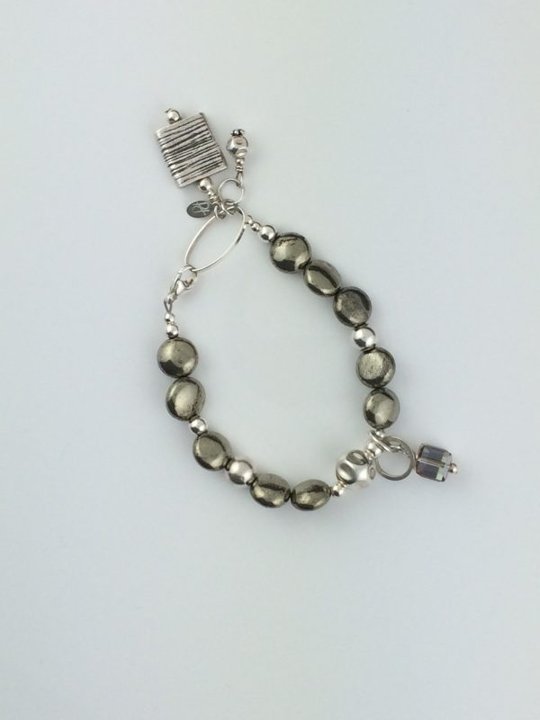 Pyrite and Sterling Silver Bracelet with Crystal Accent