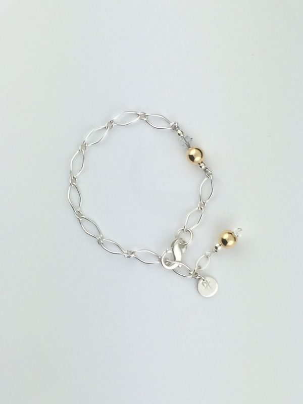 Sterling Silver Twist Chain and Gold Accent Bracelet