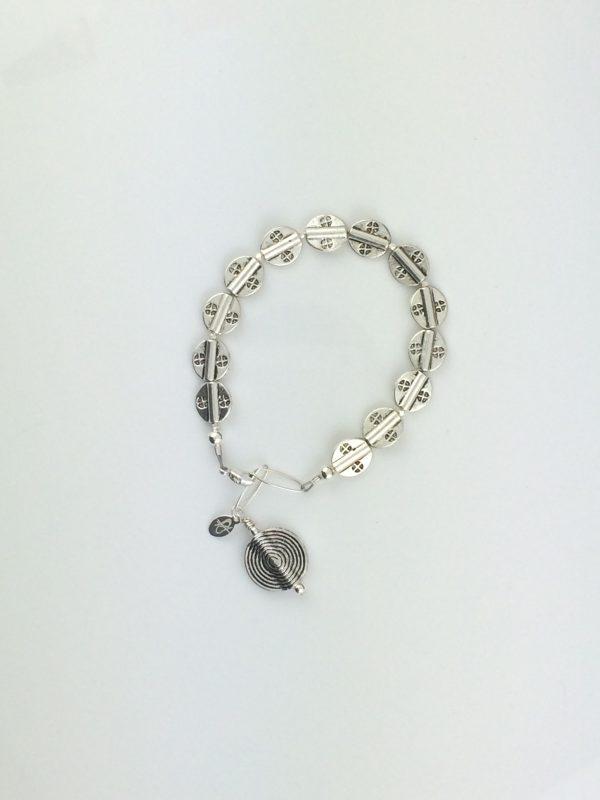 Pewter Textured Disks Bracelet