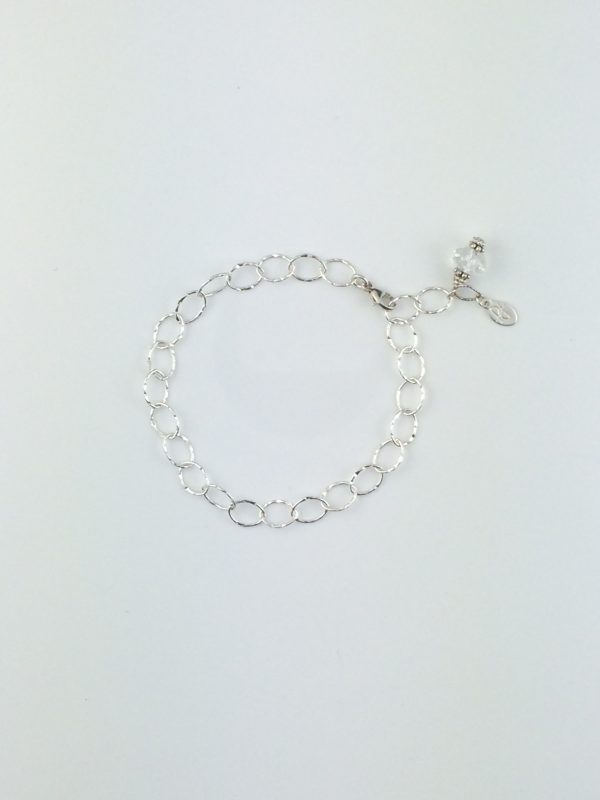 Textured Oval Sterling Silver and Crystal Bracelet