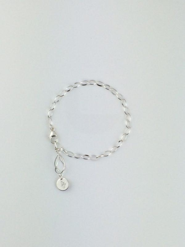 Sterling Silver Oval Link and Twist Bead Bracelet