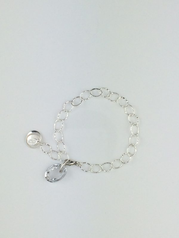 Sterling Silver Accents and Textured Chain Bracelet