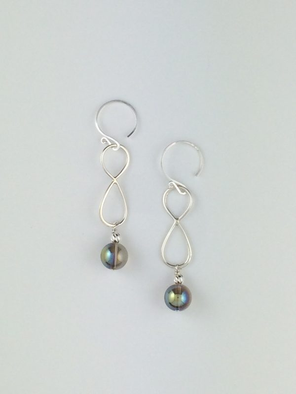 Silver Infinity Earrings with Swarovski Crystal Globes