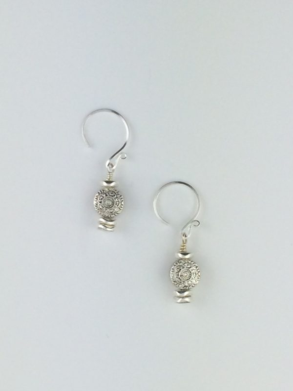 Pewter and Sterling Silver Bali Earrings