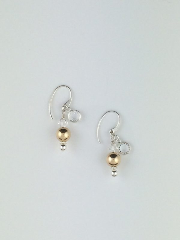 Sterling Silver , Gold and Swarovski Crystal Earrings