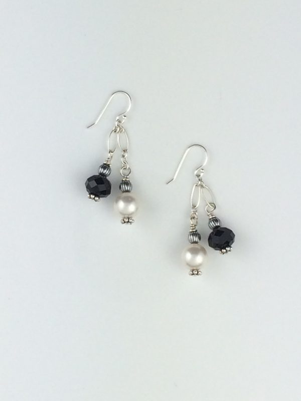Swarovski Pearl and Crystal Earrings with Silver Accents
