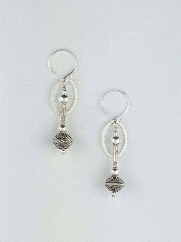 Sterling Silver Oval and Bali Bead Earrings