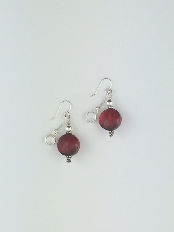 Red Chinese Crystal Earrings with Silver Bali Accents