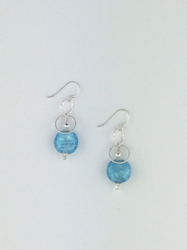 Turquoise Glass Earrings with Silver Accents