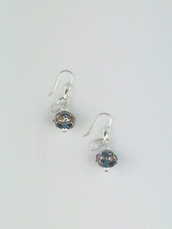 Turquoise Fancy Glass Bead with Sterling Silver Accents