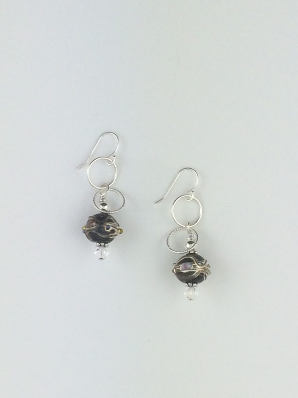 Black Glass Bead Earrings with Sterling Silver Accents