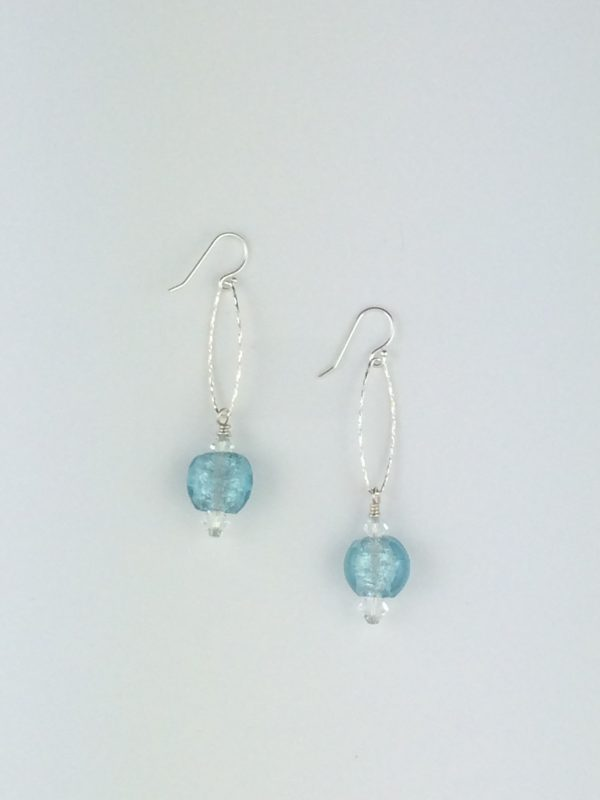 Sterling Silver Sparkle Oval Earrings with Blue Glass