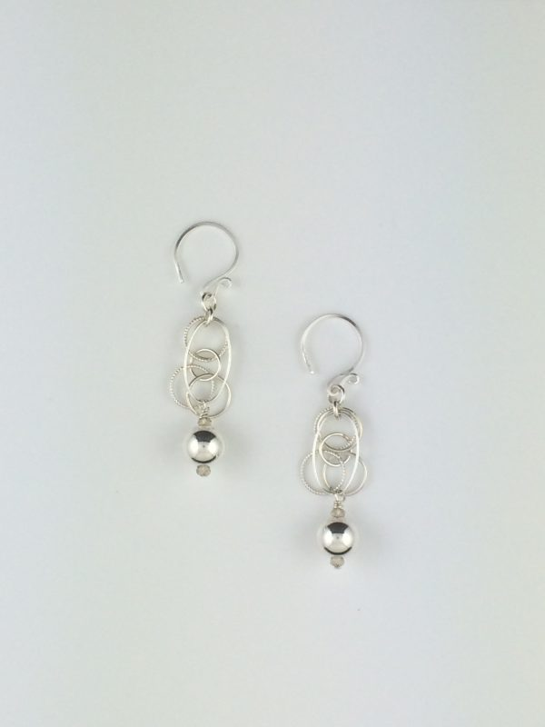 Sterling Silver Circles and Oval Earrings