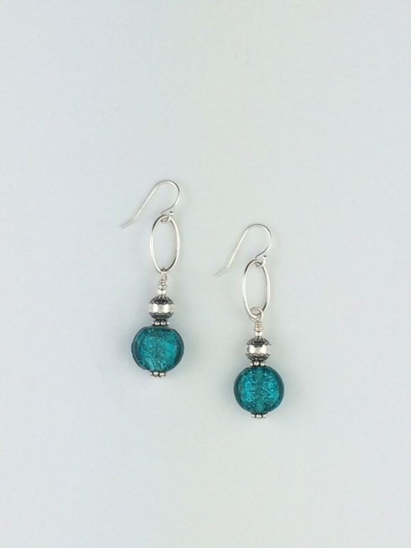 Turquoise Glass Bead Earrings with Sterling Silver Accents