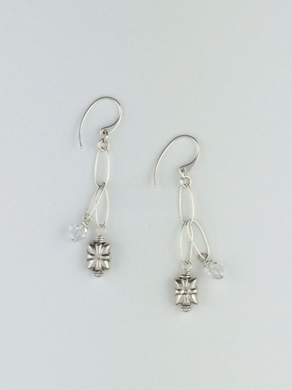 Sterling Silver Link Earrings with Bali Bead and Crystal