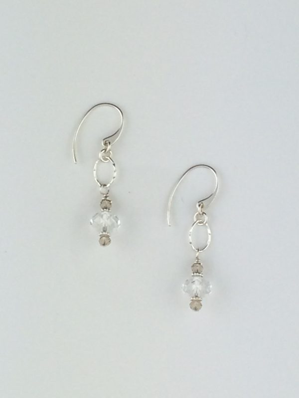 Mini Swarovski Briolette Crystal Earrings with Silver Accents