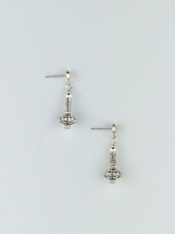 Sterling Silver Bali Flower Bead Earrings