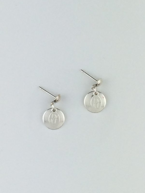 """Sterling Silver Disk and """"Posh Design"""" Tag Earrings"""