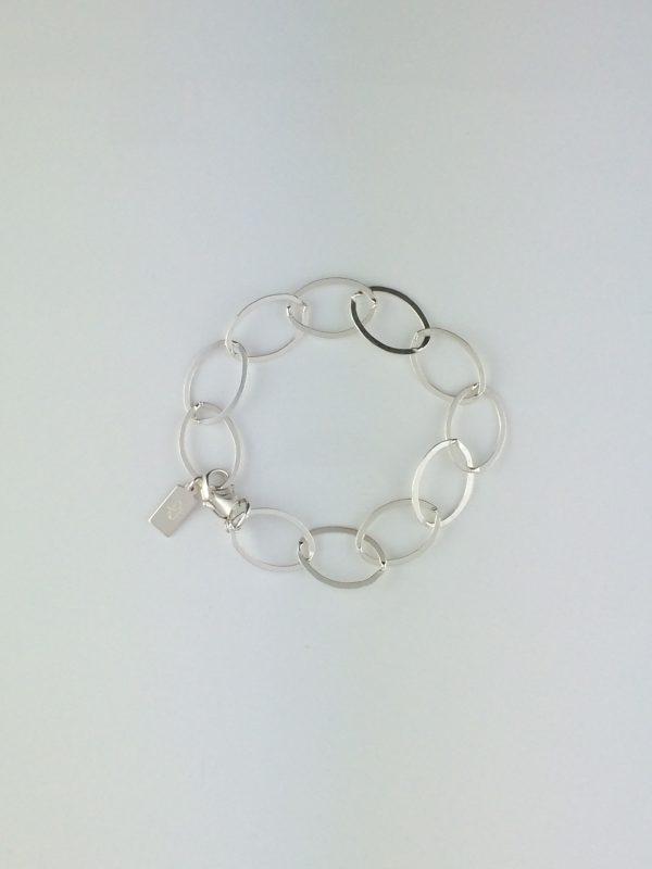 Large Sterling Silver Oval Chain Bracelet