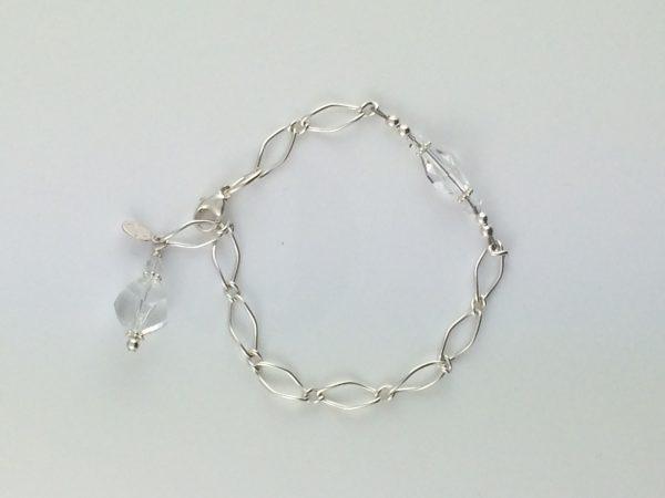 Sterling Silver Twist Chain Bracelet with Swarovski Crystals
