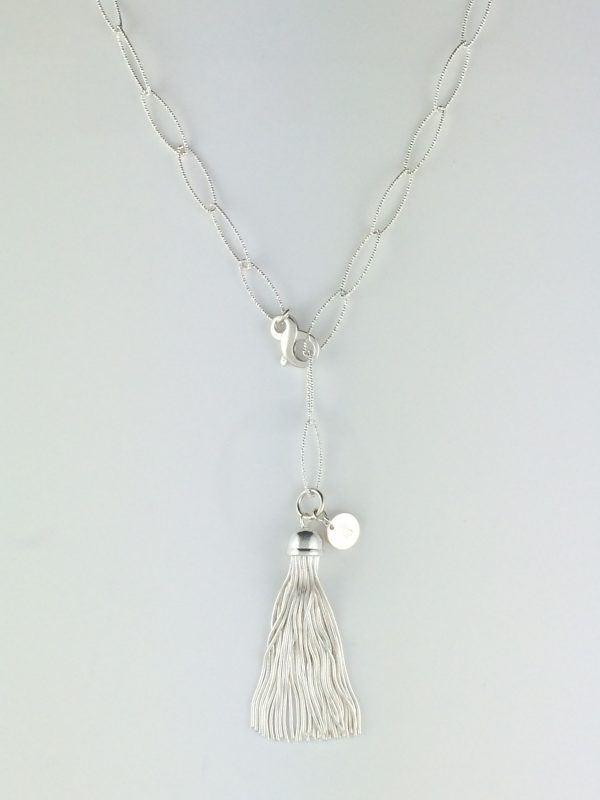 Sterling Silver Sparkle Oval Chain with Tassel Necklace