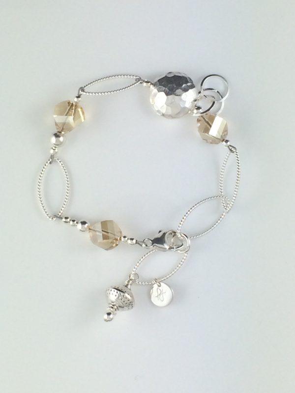 Sterling Silver Textured Link and Golden Swarovski Bracelet