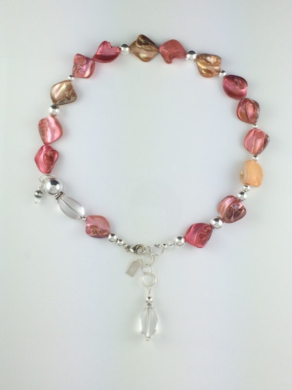 Coral Shell , Quartz and Sterling Silver Necklace