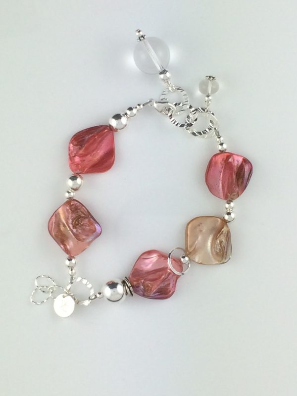 Coral Shell , Quartz and Sterling Silver Bracelet