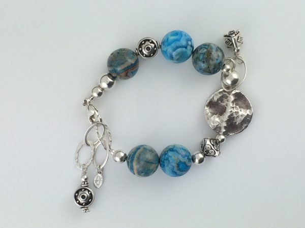 Sterling Silver and Lace Agate Bracelet
