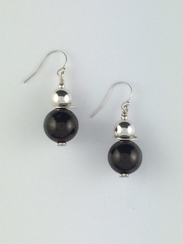 Jet and Sterling Silver Earrings