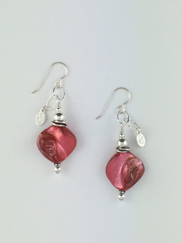 Coral Shell and Sterling Silver Earrings