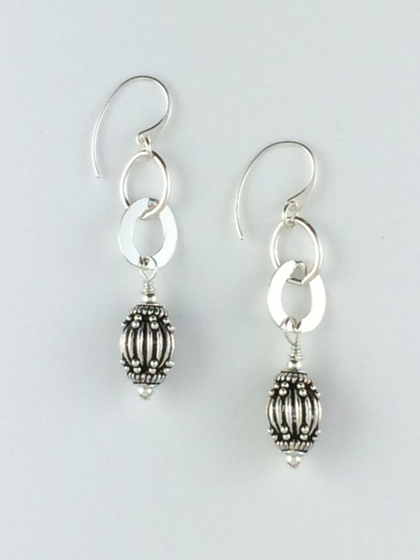 Sterling Silver Bali Bead and Shiny Link Earrings