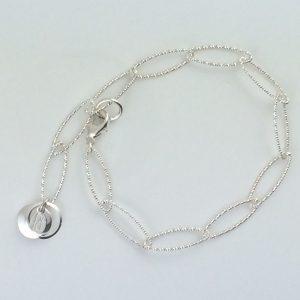 Sterling Silver Oval Sparkle Chain Bracelet