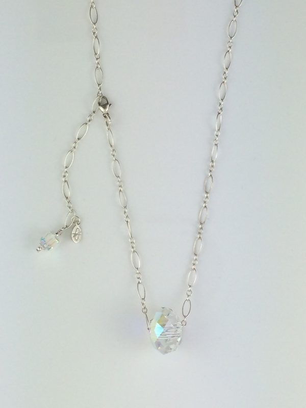 Delicate Sterling Silver Chain with Swarovski Briolette Crystal Necklace