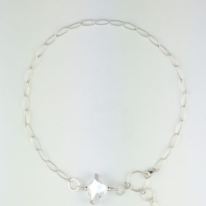"""Sterling Silver Oval Chain with Swarovski """"Galactic"""" Crystal"""