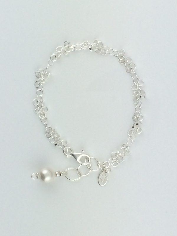 Mini Sterling Silver Circles Bracelet with Swarovski Pearl Dangle
